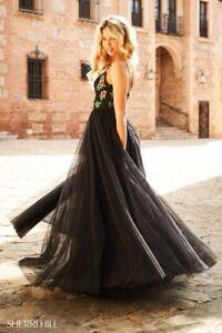 102d56274014 Sherri Hill 52050 Black Multi Stunning Gala Prom Gown Dress sz 12   eBay
