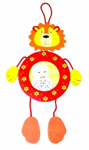 Baby Boy or Girl Wooden Photo Frame Lion Red Orange Yellow Hang On Wall Picture