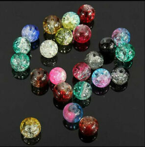 4//6//8//10mm Round Crystal Crack Glass Loose Spacer Beads Charm DIY Jewelry