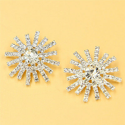 Clear Rhinestone Shank Silver Tone Buttons For Sewing Craft Diameter 30mm 2pcs