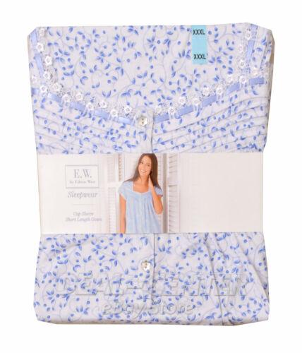 W by Eileen West Sleepwear Cap Sleeve Short Length Night Gown Blue XXL New E