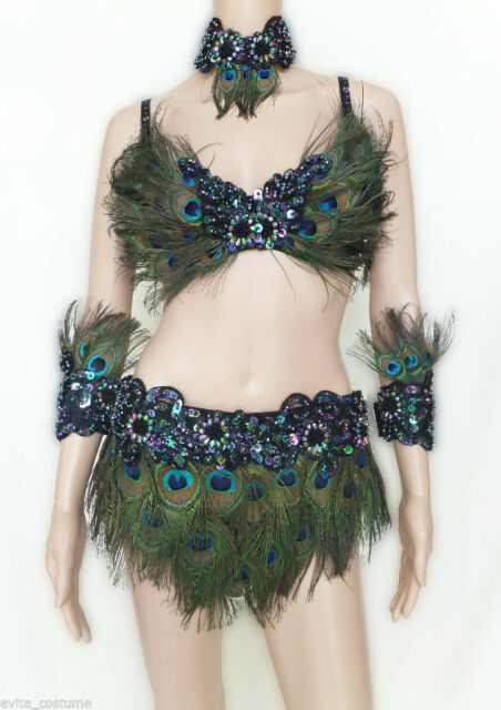 Da NeeNa FPC Showgirl Vegas Drag Queen Dance Bra Skirt Peacock Costume S-XL