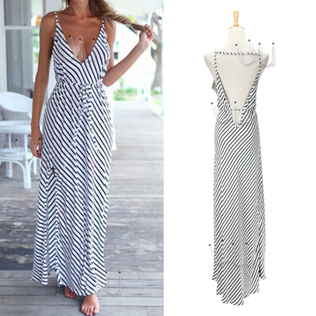 Sexy Women Summer Boho Long Maxi Evening Party Beach Chiffon striped Dress White