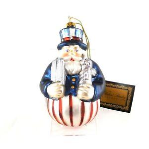 Patriotic Christmas Ornaments.Details About Robert Stanley Santa Yankee Doodle Patriotic Christmas Ornament Blown Glass July