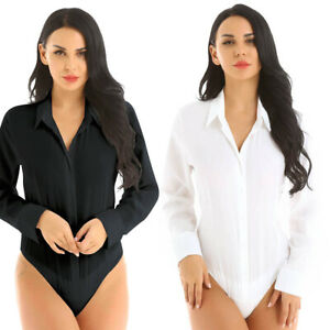 Plus-Women-One-Piece-Collar-Long-Sleeve-Button-Down-Bodysuit-Jumpsuit-Shirt-Tops