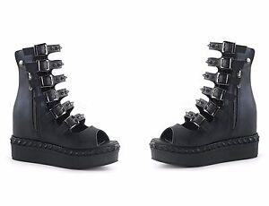 a23dd585e47c Demonia VENOM-110 Women s Hidden Wedge Platform Open Front Ankle ...