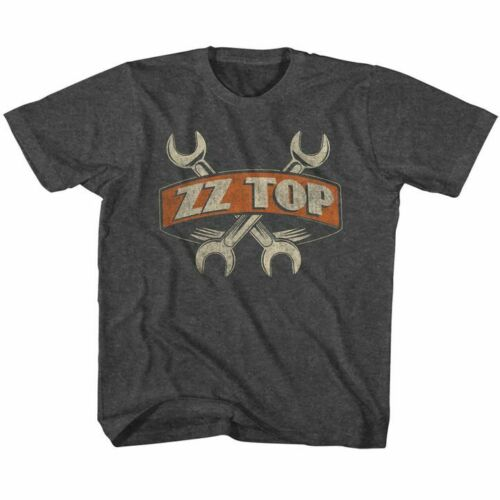 ZZ Top Toddler Boys Kids Short Sleeve T-Shirt Black Heather Wrenches Graphic Tee
