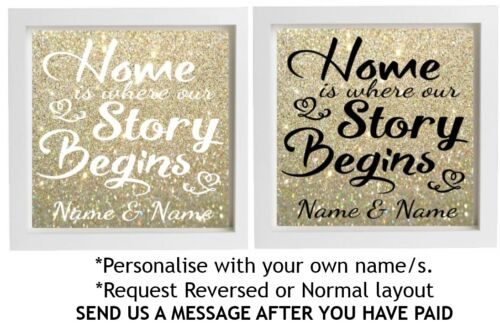 Vinyl Sticker 20x20cm DIY Box Frame HOME IS WHERE OUR STORY BEGINS personalise