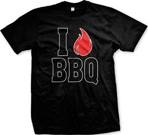 I Love BBQ Fire Flame Heart Barbecue Grill /<3 Eat Cook Beer Burn Men/'s T-Shirt
