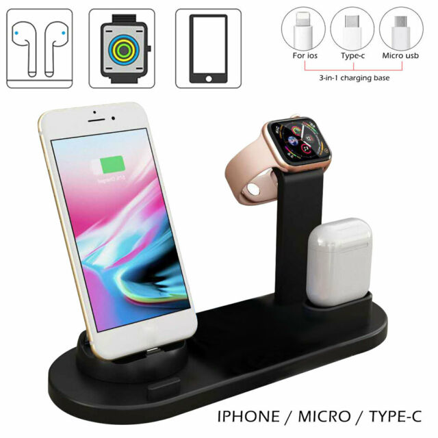3in1 Qi  Charger Fast Charging Dock Stand Fr Airpods Apple Watch iPhone station