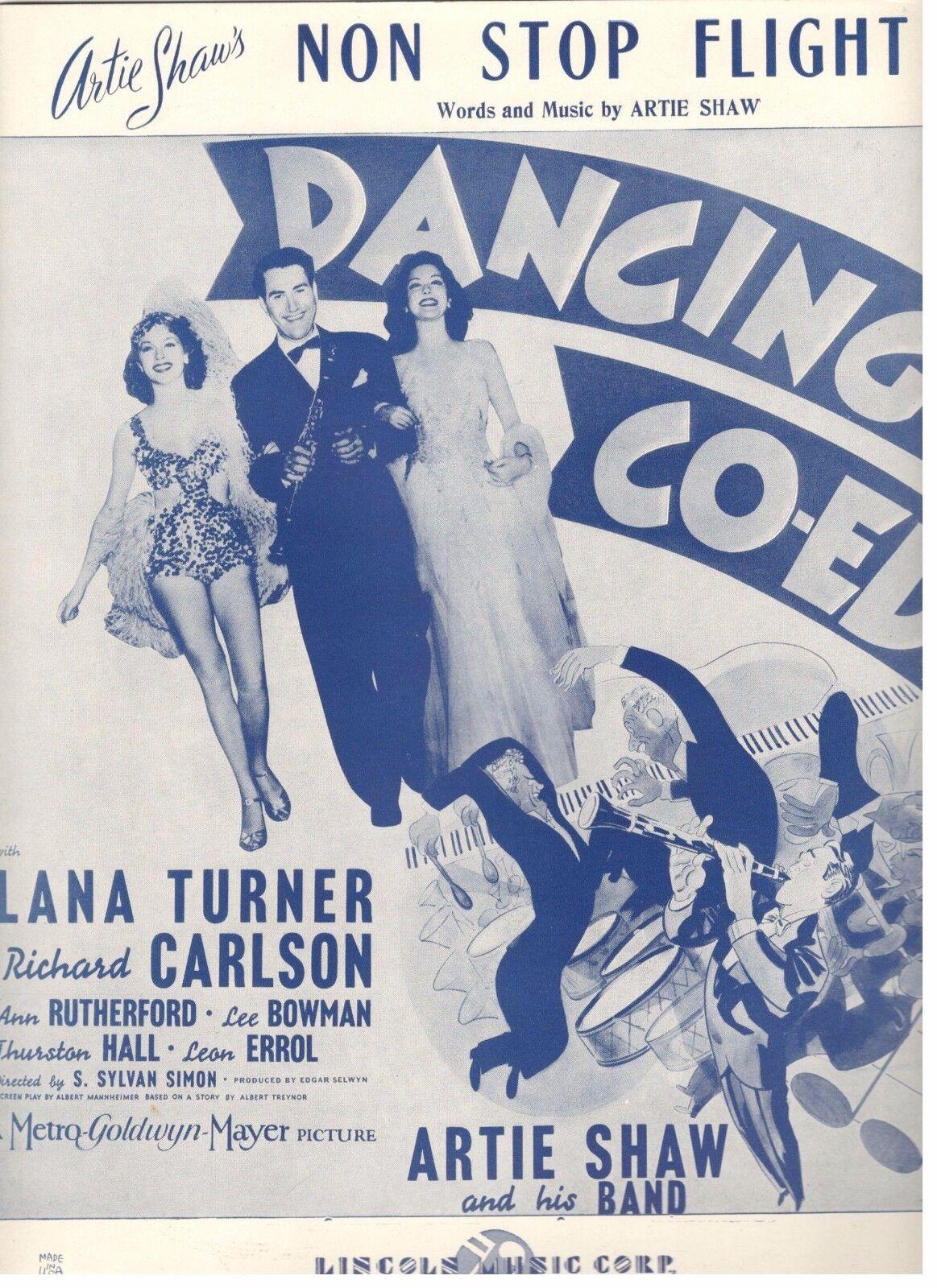 LANA TURNER CARLSON  NON STOP FLIGHT  ARTIE SHAW SHEET MUSIC-1939-RARE-NEW-MINT