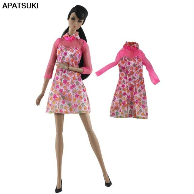 Pink Floral Short Dress For Barbie Doll Cloth Outfits Short Gown For Barbie Doll