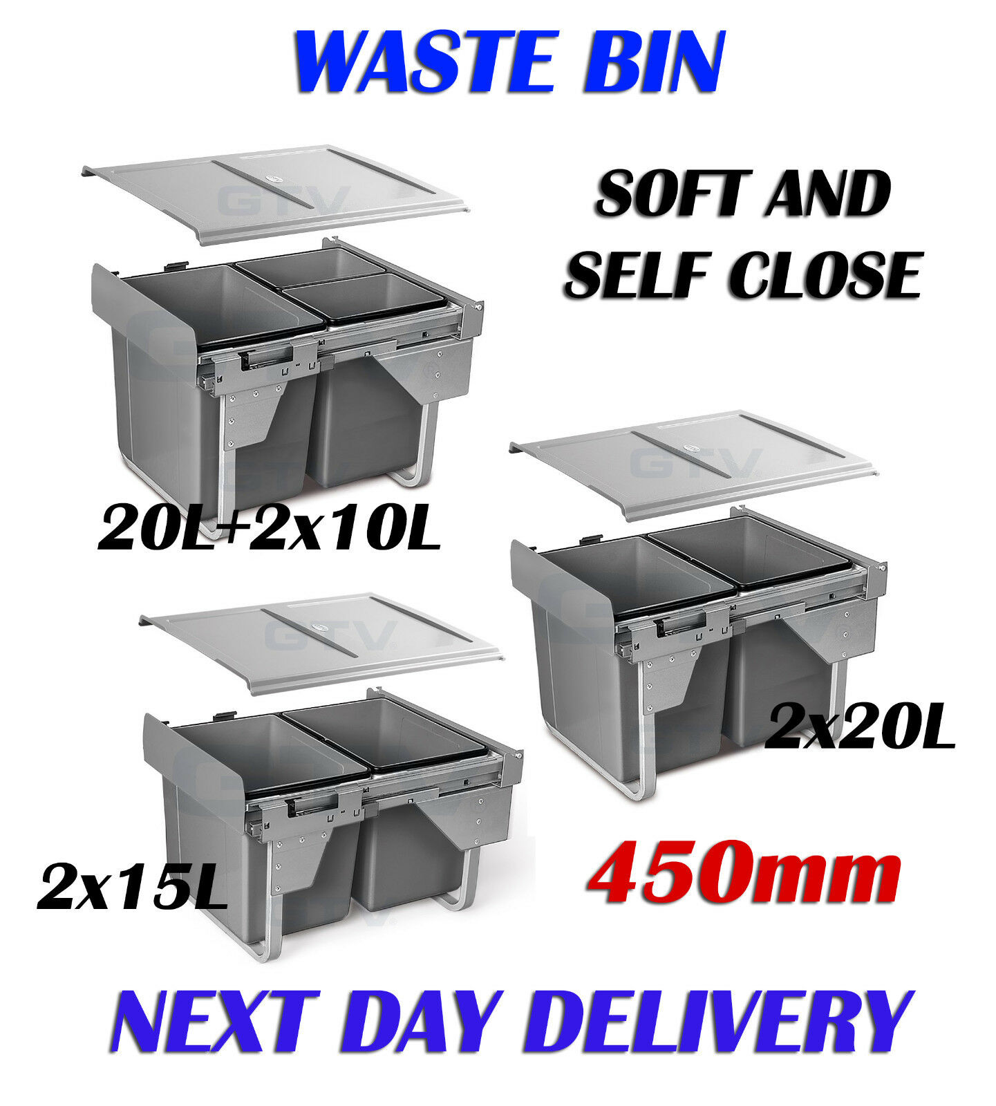 CARGO PULL OUT RECYCLE BIN KITCHEN HINGED  DOOR  BIN SOFT AND SELF CLOSE 450mm