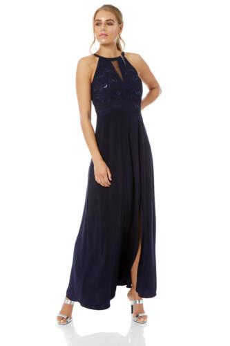 Roman Originals Women Lace Keyhole Halter Neck Maxi Dress