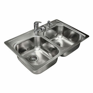 Phenomenal Details About Nib Nice Kindred 20G Stainless Steel Dual Bowl Complete Kitchen Sink 33X22X8 Download Free Architecture Designs Sospemadebymaigaardcom