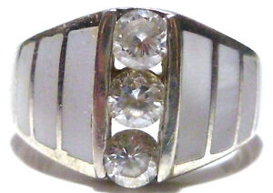 Large Sterling Silver Round Cz Stack Mop Mother Of Pearl Ring Sz