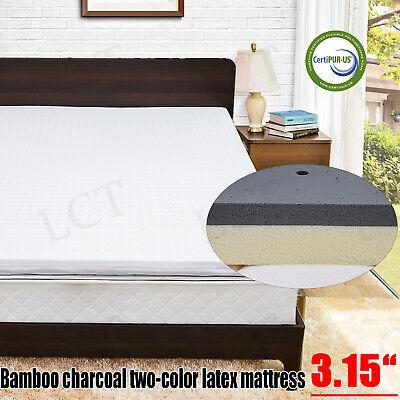 """3.15/"""" Double Layer Mattress Pad Nesaila Bamboo Charcoal Latex Mattress Topper"""