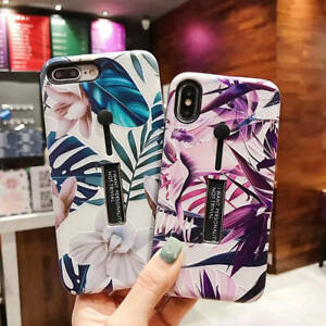 For-iPhone-XS-Max-XR-6-7-8-Plus-Marble-Flower-Ring-Holder-Stand-Hard-Case-Cover