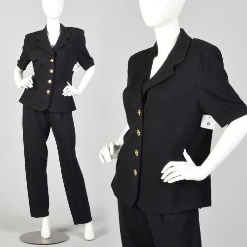 Large 1990s St. John Basics Set Black Jacket Ensem