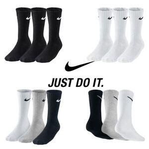 d54d0f4947cf Nike Performance Cotton Mens Cushined CREW Socks - 3 Pairs- Long ...
