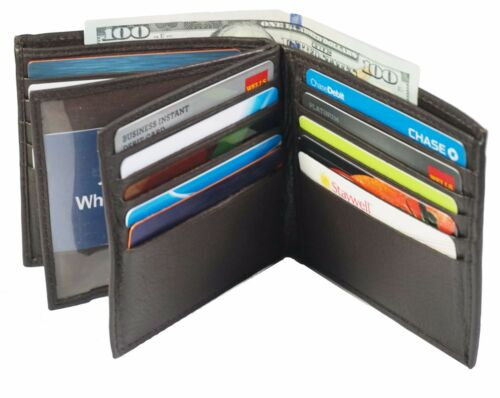 Genuine Leather Mens Bifold 2 ID/'s multi Card Double Center Flap Popular Wallet