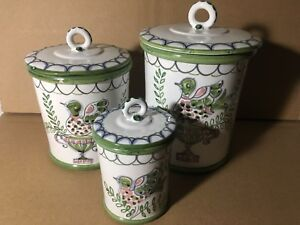 Details about Vintage Handpainted Italian Kitchen Canisters