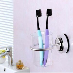Suction-Cup-Toothbrush-Toothpaste-Tumbler-Holder-Bathroom-Cups-Storage-Rack