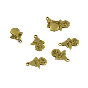 New 50 pcs MADE FOR AN ANGEL Charms Pendants DIY Jewelry Making Light Gold