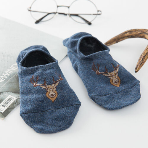 5 Pairs Summer Men Elk Invisible No Show Nonslip Loafer Boat Ankle Low Cut Sock