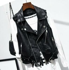 New Women/'s slim motorcycle leather vest jacket sleeveless vests waistcoat Belt