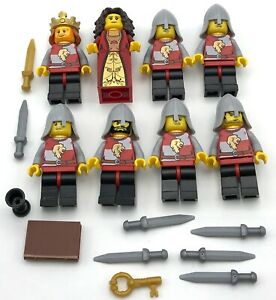 LEGO 8 NEW KNIGHTS KINGDOMS CASTLE MINIFIGURES KING QUEEN MEN WEAPONS ARMOR MORE