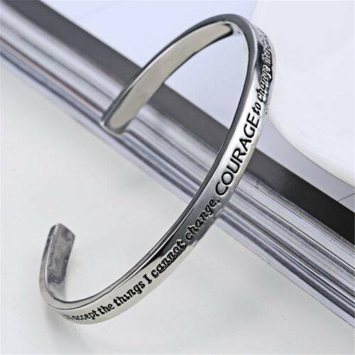 1 Pcs Argent Prière de la sérénité de ton Cuff Bracelet bijoux à la mode cadeau