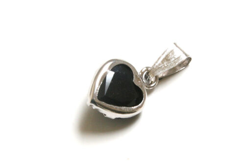 9ct White Gold Sapphire Heart Necklace Pendant no chain Gift Boxed Made in UK