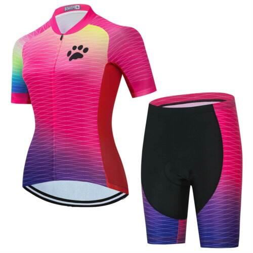 Damen Rennrad Kleidung Fahrradtrikot Kurzarm und Radshorts Set Rosa Blau Grün