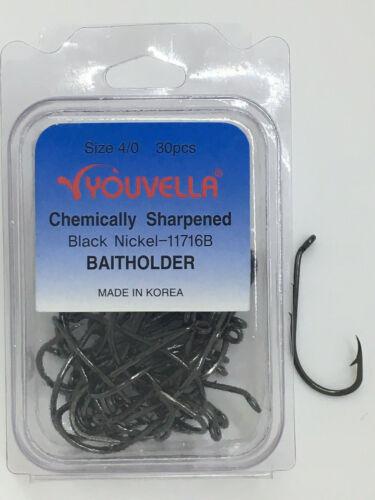 2 x Strong 30 Pack Bait Holder Youvella chemically sharpened Baitholder hook