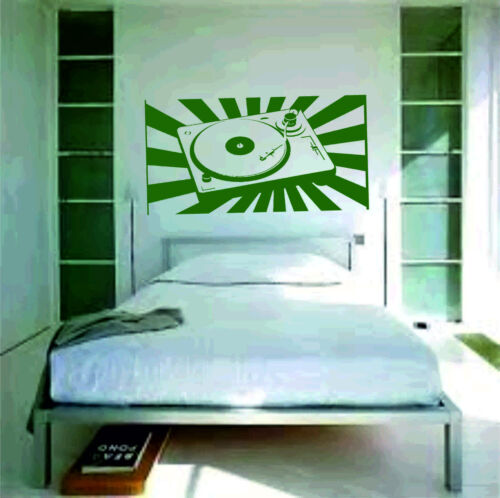 Turntable decks Wall Sticker vinyl art large graphic decal deco dj bedroom mix