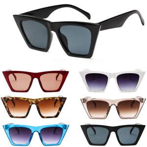 42fc1262a8b94 Image is loading Womens-Ladies-Retro-Cat-Eye-Sunglasses-Designer-Square-