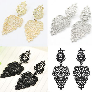 Vintage-Silver-Alloy-Pierced-Long-Dangle-Drop-Earrings-Bohemian-Women-039-s-Jewelry