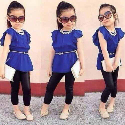 2PCS Kids Toddler Baby Girl Ruffles Tops Blouse Shirt+Long Pants Clothes Outfits