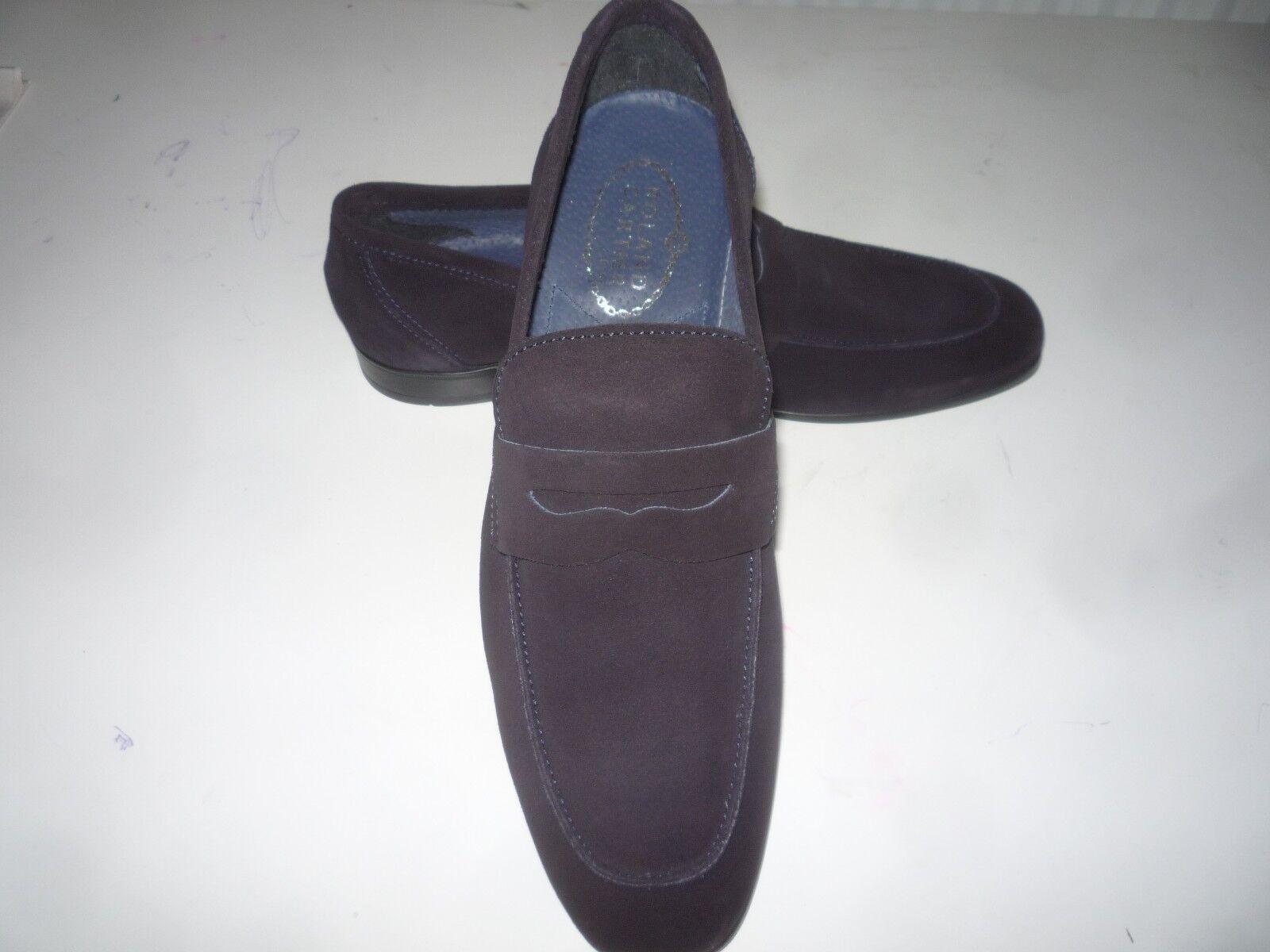 ROLAND CARTIER  Herren NAVY SUEDE LEATHER LOAFER Schuhe 8/UK / 42 EUR BRAND NEW