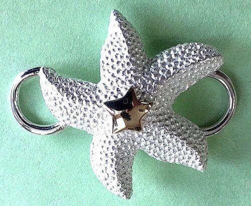 Convertible Fermoir-étoile de mer argent sterling 925 avec 14K GOLD STAR made in USA