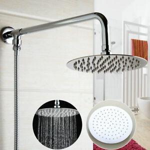 EUB-Wall-Mounted-8-034-Round-Rainfall-Shower-Head-Shower-Arm-Shower-Hose-Chrome-Set