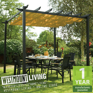 Image is loading NEW-GARDEN-PATIO-METAL-RETRACTABLE-PERGOLA-SUN-CANOPY- & NEW GARDEN PATIO METAL RETRACTABLE PERGOLA SUN CANOPY AWNING COVER ...
