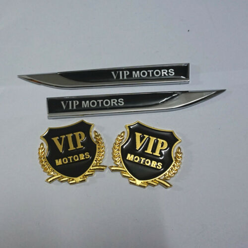 2PCS Golden VIP MOTORS Metal Sticker Emblem Pair New Silver Badge 3D Luxury #6