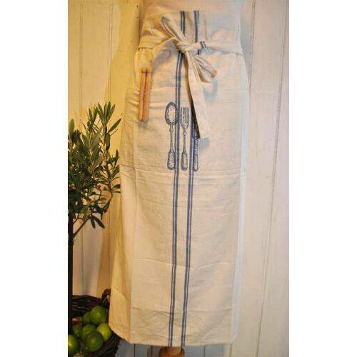 Artefina tablier bleu blanc avec des couverts Motif 80cm