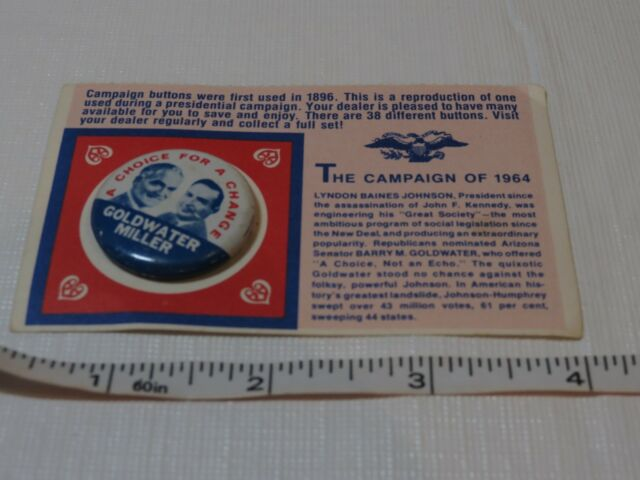 The Campaign of 1964 Goldwater Miller SUPER RARE Pin card A choice for a Change