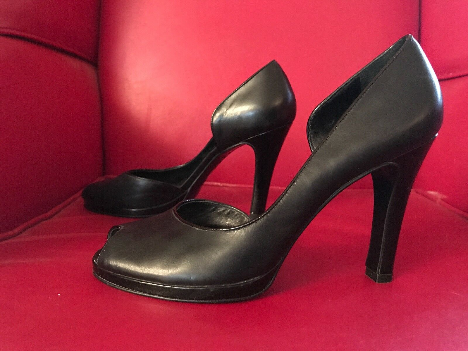 Lauren Ralph Lauren woman's 8B pumps genuine Leather noir open toe 4  heel