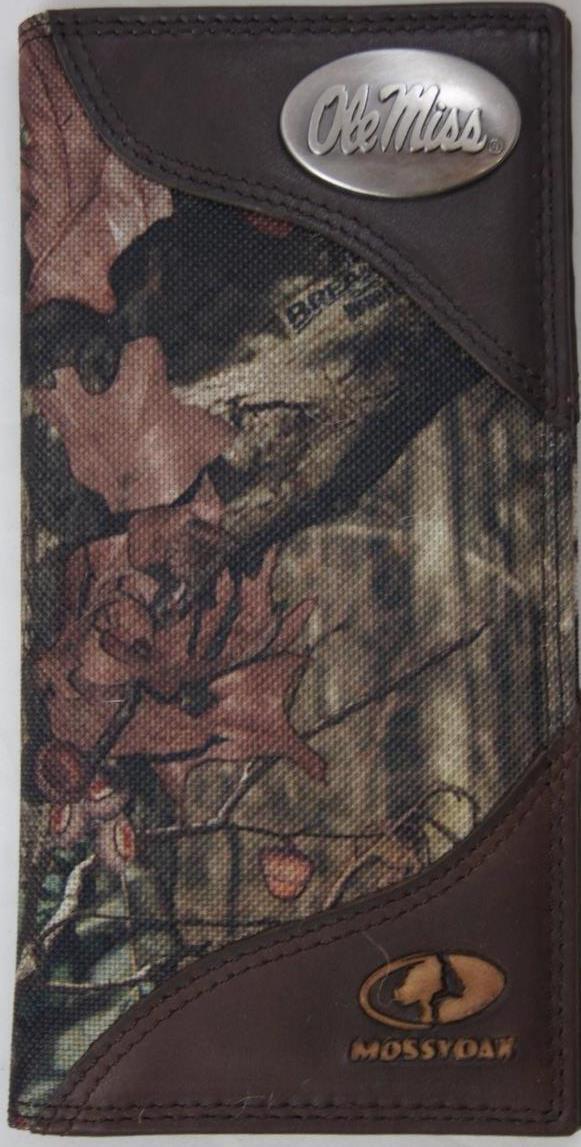 ZEP-PRO Ole Miss Rebels Leather & Nylon MOSSY OAK Camo Wallet BURLAP GIFT BAG