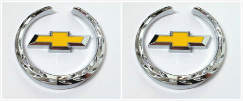 2PCS For Chevrolet Emblem Badge Crest Fender Side Metal Decals Sticker Chevy New