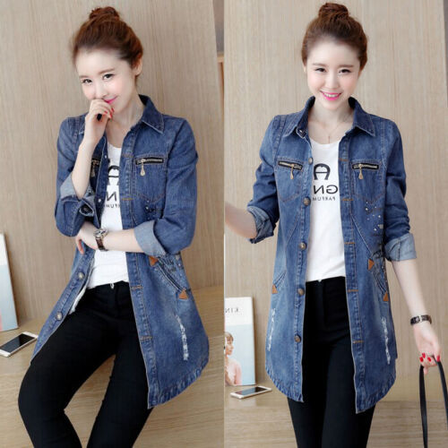 Spring Women/'s Jacket Long Denim Coat Ladies Casual Jean Jacket Outerwear